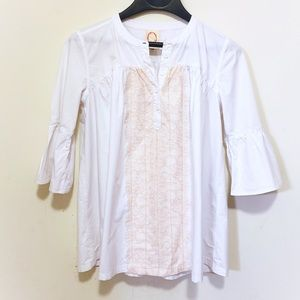 Anthropologie O by Organic White Poet Blouse